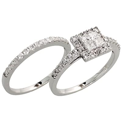 Sprinkling diamond wedding rings for women made of white gold has a