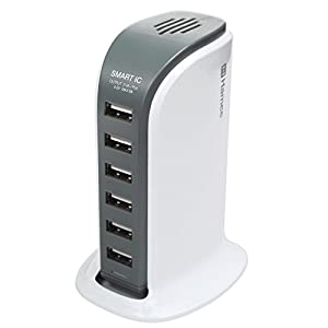 HEXA 40W 6ポート USB急速充電器 AC充電器 ACアダプタ 急速 USB 2.4A 高出力 出力自動判別 / ホワイト
