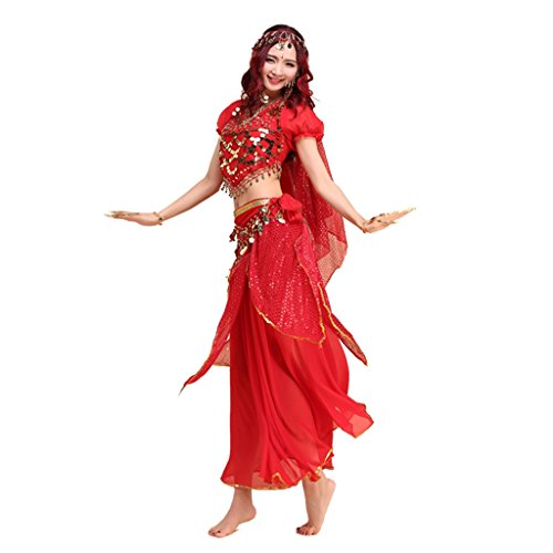 Pilot-trade lady's Belly Dance Costume Indian Dance Shiny Bells Top Highlights Skirt