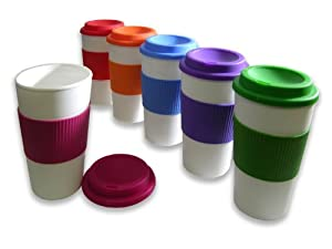 Set of 6 BPA-Free 16-Ounce Capacity Reusable To Go Travel Mugs (Classic)