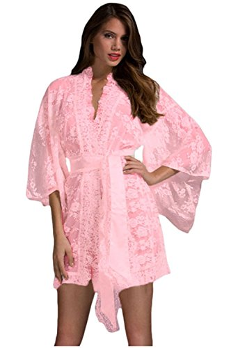 FQHOME Womens Pink Belted Lace Kimono Nightwear Size XL (Thong Sandal With Web Detail compare prices)