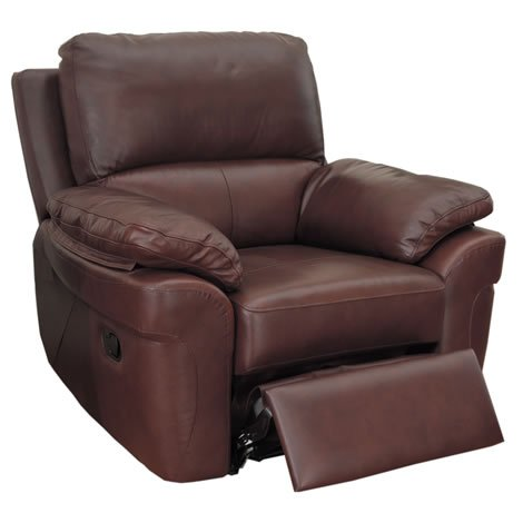 Recliner Armchair - Faux Leather - Padded Arms - Deep Cushions - Chestnut Brown