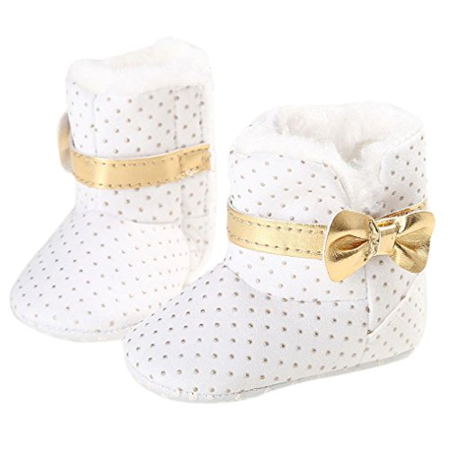 Iuhan New Baby Toddler Infant Girl Snow Boots Soft Sole prewalker Crib Shoes (Age:0~6 Month, White)