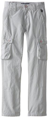 U.S. Polo Assn. Big Boys' Cotton Rip Stop Cargo Pants, Medium Grey, 16