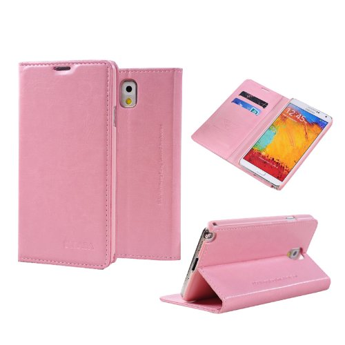 Moon Monkey Ultra-Thin Slim Imported Leather Stand Folio Cover Case For Samsung Galaxy Note 3 (Pink)