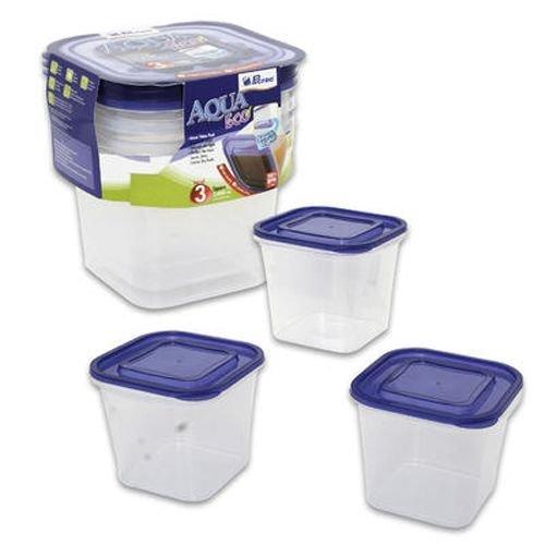 Ddi Square Container With Lids, 3 Piece Plastic