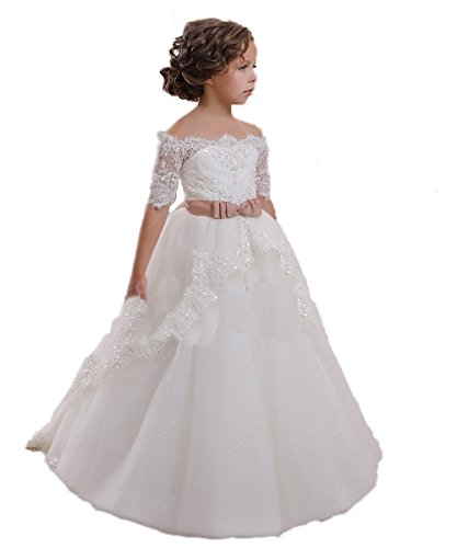 CoCoBridal Lace Flower Girls Dresses Girls First Communion Dress Princess Wedding (4T, Ivory)