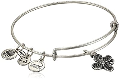 "Alex And Ani ""Bangle Bar"" Lucky Clover Expandable Wire Bangle Bracelet, 7.75"""