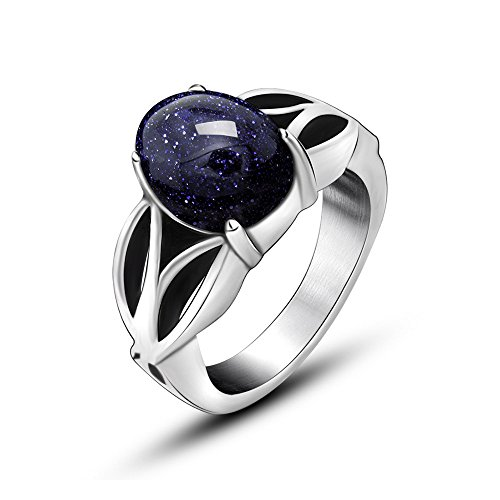 FANSING Jewelry Mens Womens Stainless Steel Rings with Blue Galaxy Stone (Dragon Eye Ring compare prices)