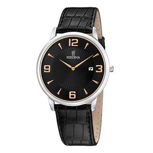 Festina F6806/4 - Reloj analógico de cuarzo para hombre con correa de piel, color negro