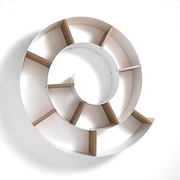 Wink Design Chiocciola Mensola da Parete, Metallo, Bianco Lucido, 13.5 x 105 x 105 cm