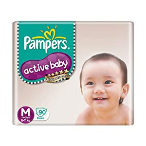 Flat 25% Off on Pampers Active Baby Medium Size Diapers (90 Count )