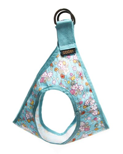 Gooby Picnic Dog Harness, X-Small, Aqua Flower