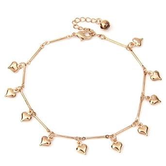 SODIAL(R) Hearts Bell Anklet Chain Ankle Bracelet Link Rose Gold HOT