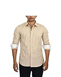 Hackensack Men's Casual Shirt (HNK_32_XL_Beige_X-Large)