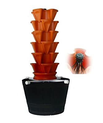 Hydroponic / Aquaponic Vertical Gardening Set Up Kit - Stackable Soil Gardening Tower Too - Vertical Container Growing System To Grow Vegatables, Herbs, Strawberries, Peppers, and More - Indoors or Outdoors - Food Safe Plastic Stacking Planters - Easy to