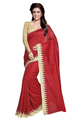 Sourbh Sarees Women's Red Art Silk Casual Wear Geometric Print Saree with Unstitched Blouse Piece