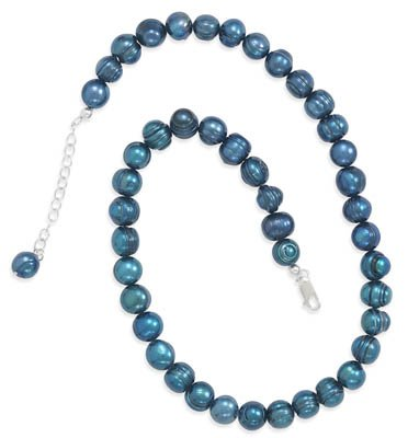 18 Inch+ 2 Inch Extension Teal Cultured Freshwater Pearl Knotted Necklace