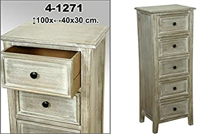 DonRegaloWeb - Mueble cajonera de madera con 5 cajones decorado en color blanco decape
