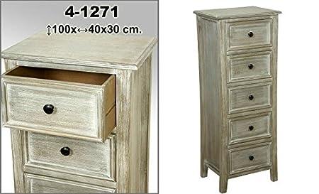 DonRegaloWeb - Mueble cajonera de madera con 5 cajones decorado en color blanco decape