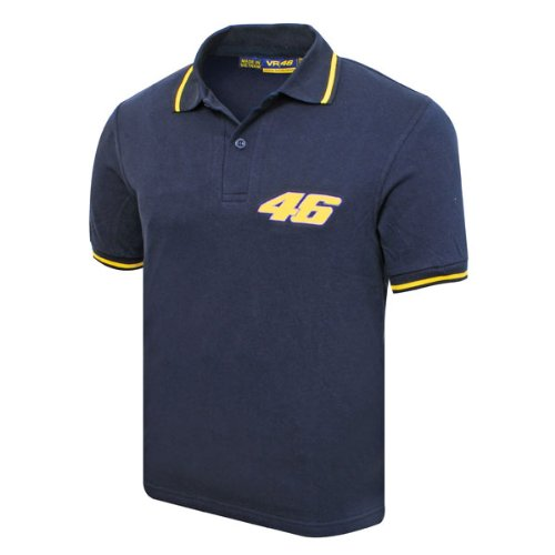 valentino rossi 46 logo. This Valentino Rossi #46 polo in navy is part of the official Valentino Rossi merchandise range. This high quality polo shirt is an essential item for any