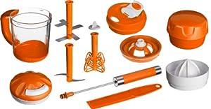 Genius 29121 Twist N' Joy - Juego de licuadora-exprimidor (13 piezas), color naranja