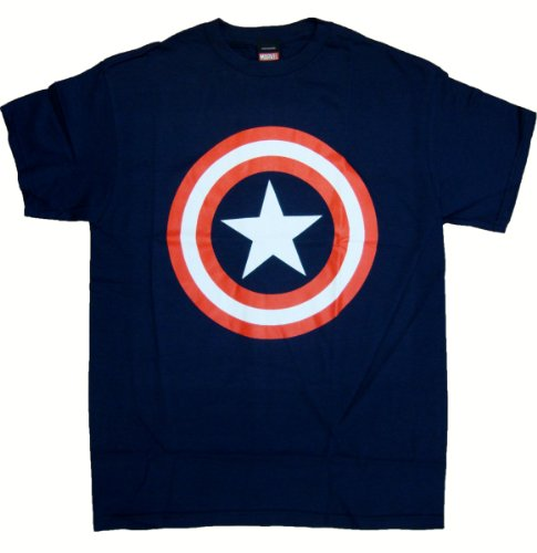 Captain America Shield Logo T-Shirt, XX-Large,Navy