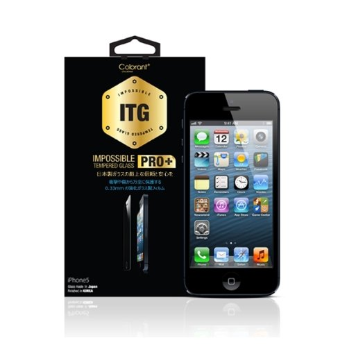 Colorant ITG PRO Plus - Impossible Tempered Glass for iPhone 5/5C/5S - 0.33mm日本産強化ガラス製フィルム 2.5TRラウンドカット仕様 - 完全日本語パッケージ版 P-4157
