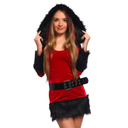 Sexy Ladies Hooded Faux Fur Christmas Costume Fancy Dress Clubwear