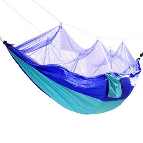 Outdoor Mosquito Net Double Hammock Hanging Swing Bed Parachute Nylon For Camping Travel by MarbellStore (Sky blue + Blue) (Femme 450 compare prices)