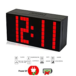 T Tocas Big Number LED Snooze Wall Desk Alarm Clock Thermometer Calendar (Red)