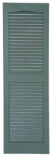 Perfect Shutters IL541439331 14-1/2-Inch by 39-Inch Louvered Cathedral Top Center Mullion Exterior Shutter, 1-Pair, Heritage Green