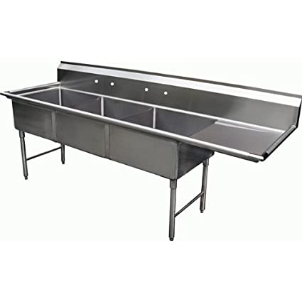 "Allstrong 3 Compartment Stainless Steel Sink 15"" x 15""x 12""D W/ 15"" Right Drainboard NSF. SE15153R"