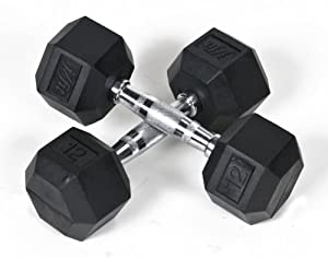 J Fit Rubber Coated Dumbbell 12 lb./Qty 2