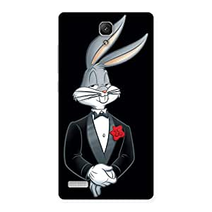 Cute Smart Bunny Black Red Back Case Cover for Redmi Note