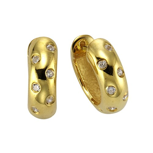 Celesta dreambase-Orecchini a cerchio in argento placcato oro con zirconi bianco brillante parte - 360210222V1