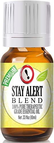 Stay Alert Blend 100% Pure, Best Therapeutic Grade Essential Oil - 10ml - Eucalyptus, French Lavender, Peppermint