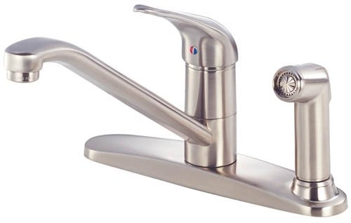 Danze D405512SS Melrose Single Handle Kitchen Faucet with Side Spray on Faucet Deck Plate, Stainless Steel