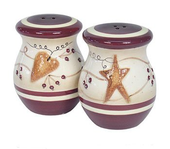 Buy Country HEARTS & STARS kitchen SALT & PEPPER shakers
