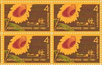 Kansas Statehood Sunflower Set of 4 x 4 Cent US Postage Stamps NEW Scot 1183