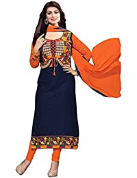 Surat Tex Navy Blue & Orange Color Party Wear Embroidered Cotton & Georgette Un-Stitched Dress Material-H440DLC3AA