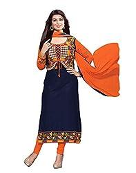 Surat Tex Women's Cotton & Georgette Dress Material (H440DLC3AA_Navy Blue_Free Size)