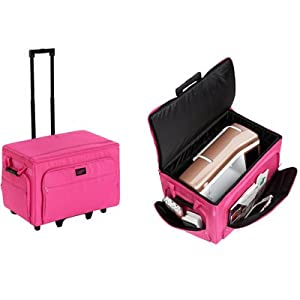 Creative Notions XXL Sewing Machine Trolley in Pink and Gray Floral Print