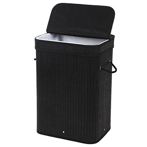 SONGMICS Bamboo Laundry Hamper Clothes Storage Basket with Removable Lid and Liner Rectangular Black ULCB10H (Tall Laundry Basket Black compare prices)