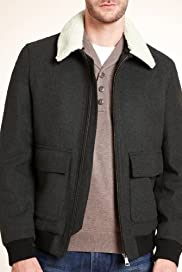 Autograph Detachable Collar Bomber Jacket with Wool [T16-4348A-S]