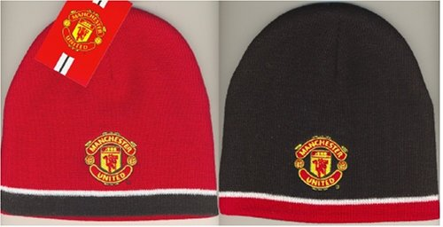 OFFICIAL MANCHESTER UNITED REVERSIBLE RED WHITE & BLACK CRESTED BEANIE HAT