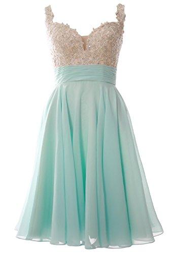 MACloth Women Strap Lace Chiffon Short Mini Prom Dress Wedding Party Formal Gown (16w, Aqua) (Fancy Dress Uk)