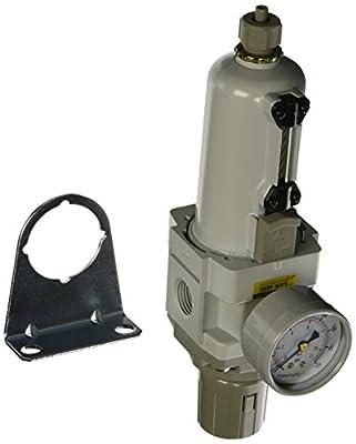 "PneumaticPlus SAW4000M-N04BG-MEP Compressed Air Filter Regulator Combo Piggyback Style 1/2"" NPT - Manual Drain, Metal Bowl, 10 Micron with Gauge"
