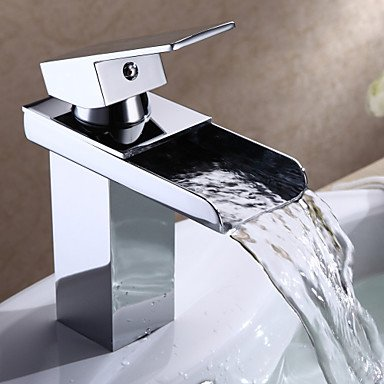 Modern Single Handle Waterfall Bathroom Sink Faucet (Chrome Finish)