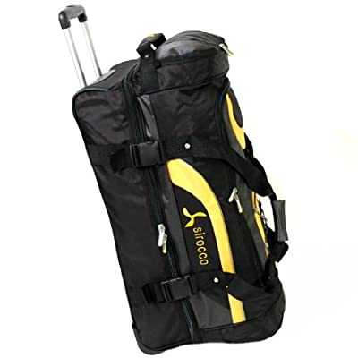 Sirocco Large 28 Inch Split Level Cargo Roller Bag (Black/Yellow) from Sirocco